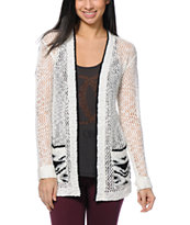 Empyre Cream & Black Aztec Print Cardigan Sweater