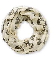 Empyre Cream Leopard Print Skulls Infinity Scarf