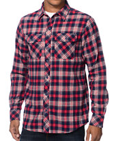 Empyre Dafuq Red & Navy Plaid Long Sleeve Flannel Shirt
