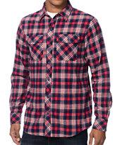Empyre Dafuq Red & Navy Plaid Long Sleeve Flannel Shirt