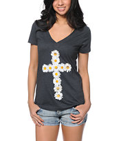 Empyre Daisy Cross Charcoal V-Neck Tee Shirt
