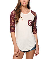 Empyre Dana Blackberry Lace Pocket Top