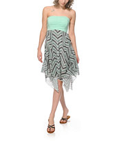 Empyre Dana Mint Chevron Strapless Dress