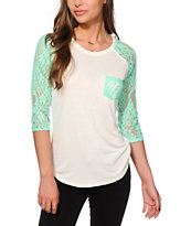 Empyre Dana Mint Lace Pocket Top