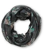 Empyre Dark Grey Floral Print Infinity Scarf