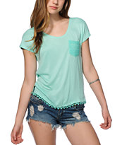 Empyre Diaz Crochet Pocket Mint Dolman T-Shirt