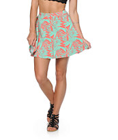 Empyre Dixie Mint & Coral Tropical Skater Skirt