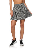 Empyre Dixie Textured Rose Print Skater Skirt