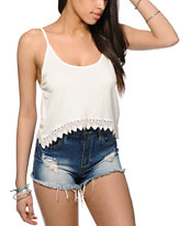 Empyre Donato Cream Crop Tank Top