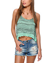 Empyre Donato Mint Tribal Crop Tank Top