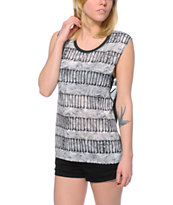 Empyre Donna Black Bone Print Muscle Tee Shirt