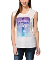 Empyre Donna Lion Cross White Muscle Tee Shirt