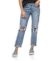 Empyre Easton jeans rectos rotos en azul mediano