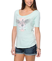 Empyre Elvie Totem Bird Mint Scoop Neck Tee Shirt