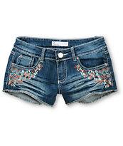 Empyre Embroidered Dark Wash Denim Shorts