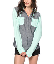 Empyre Exeter Chambray & Mint Hooded Shirt