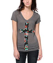 Empyre Floral Cross Charcoal V-Neck T-Shirt