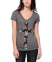 Empyre Floral Cross Charcoal V-Neck T-Shirt