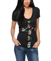 Empyre Floral Cross Dark Charcoal V-Neck T-Shirt