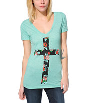 Empyre Floral Cross Mint V-Neck Tee Shirt