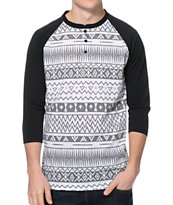 Empyre Fly Dye Tribal Henley Baseball Tee Shirt