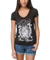 Empyre Free Spirit Heather Black V-Neck Tee Shirt