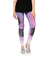 Empyre Galaxy Palm Trees Printed Leggings