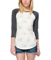 Empyre Georgina Floral Cream & Charcoal Baseball T-Shirt