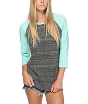 Empyre Georgina Mint & Charcoal Tribal Print Baseball Tee Shirt