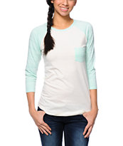 Empyre Georgina Tribal Mint & Cream Baseball Tee Shirt