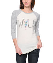 Empyre Georgina Wild Cream & Grey Baseball Tee Shirt
