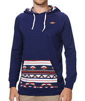 Empyre Geothreadz Navy Pocket Print Hooded Knit Shirt