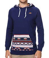 Empyre Geothreadz Navy Pocket Print Hooded Knit Shirt