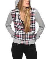 Empyre Gilmore Red Plaid Bomber Jacket