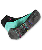 Empyre Girl 3 Pack Multi Tribal No Show Socks