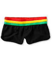 Empyre Girl Beaux Too All Black & Rasta Board Shorts
