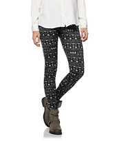 Empyre Girl Black & Cream Tribal Print Leggings