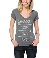 Empyre Girl Choose Your Own Path Light Charcoal V-Neck T-Shirt