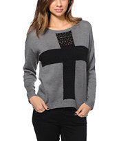 Empyre Girl Cross Charcoal Sweater