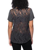 Empyre Girl Fern Charcoal Lace T-Shirt