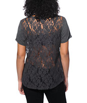 Empyre Girl Fern Charcoal Lace Tee Shirt