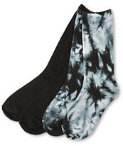 Empyre Girls 2 Pack Black Tie Dye Crew Socks