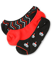 Empyre Girls 3 Pack Santa No Show Socks