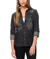 Empyre Girls Aberdeen Animal Print Black Button Up Shirt