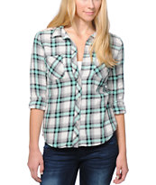 Empyre Girls Arvada Mint Plaid Lace Button Up Shirt