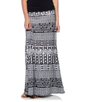 Empyre Girls Aztec Black & White Tribal Print Maxi Skirt