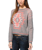 Empyre Girls Aztec Coral & Grey Crew Neck Sweater