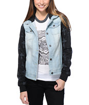 Empyre Girls Berkeley Crosses Hooded Denim Vest Jacket