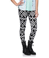 Empyre Girls Black & White Geo Print Leggings