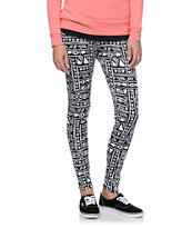 Empyre Girls Black & White Pieced Tribal Print Leggings